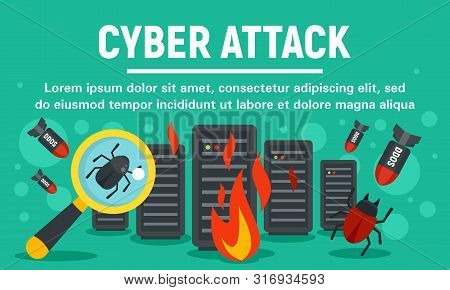 Server Cyber Attack Concept Banner. Flat Illustration Of Server Cyber Attack Vector Concept Banner F