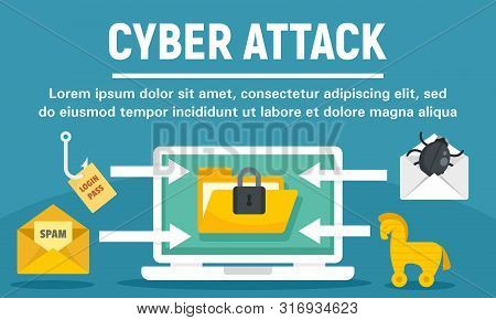 Cyber Attack Concept Banner. Flat Illustration Of Cyber Attack Vector Concept Banner For Web Design