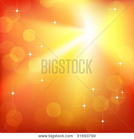 Bright sparkling flash on red background. Vector illustration. (Rgb-model, no transparency).