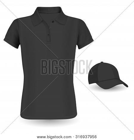 Polo Shirt Mockup. Black Vector Tshirt And Baseball Cap Template Isolated On Background. Realistic W