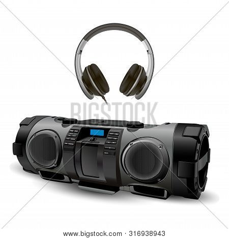 Modern Stereo Recorder Boombox With Head Phone Set. 3d Vector Mockup Of Black Earphone And Electroni