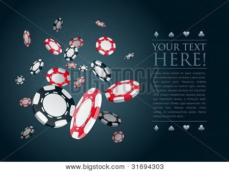 Poker gambling chips poster template. Elements are layered separately in vector file. poster