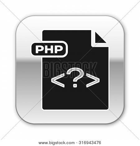 Black Php File Document. Download Php Button Icon Isolated On White Background. Php File Symbol. Sil
