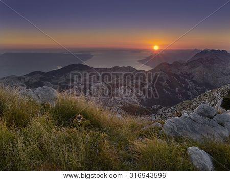 Croatian Sunset Above The Adriatic Sea With Brac Island, View From Saint Jure, Biokovo