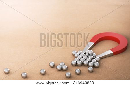 Lead Magnet Over Paper Background Attracting And Retaining Many Spheres, Symbol Of New Customers. B2
