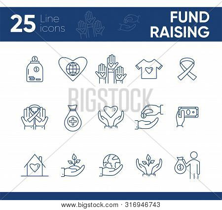 Fund Raising Icons. Line Icons Collection On White Background. Animal Shelter, Volunteering, Giving