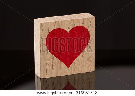 Red Heart Wooden Block Tile