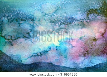 Backgroung Watercolor Splash Of A Night Sky Meditation