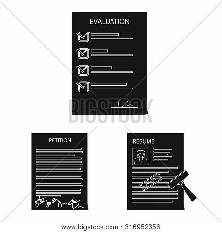 Vector Design Of Form And Document Symbol. Set Of Form And Mark Stock Symbol For Web.