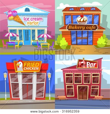 Urban Building Set Ice Cream Parlor, Bakery Cafe, Fried Chicken Market Or Restaurant And Bar. Exteri