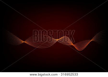 Abstact Golden 8 Wave Line For Element Design Of Certificate, Banner, Backdrop, Cover, Etc At Black.