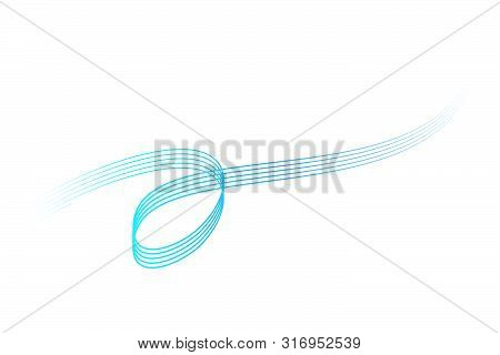Vector, Abstact Gradual Blue 8 Wave Line For Element Design Of Certificate, Banner, Backdrop, Cover,