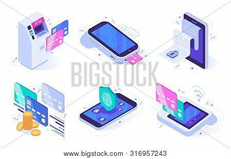 Isometric Online Payments. Electronic Finances Bill, Finance Payment Security And Digital Purchase.