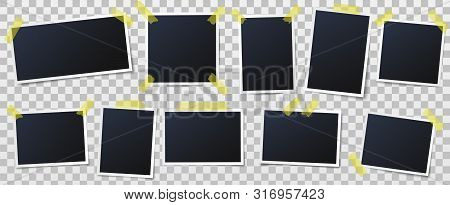Photo Frame On Sticky Tape. Photos On Adhesive Tapes, Picture Frames And Vintage Photo Wall Template