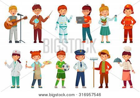 Kids Workers. Child Professional Uniform, Policeman Kid And Baby Job Professions. Children Character