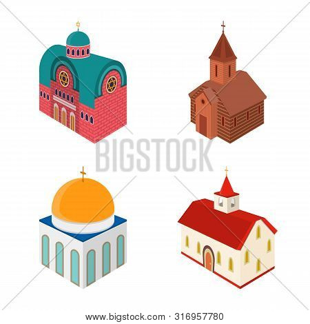 Isolated Object Of Architecture And Building Symbol. Set Of Architecture And Clergy Stock Symbol For