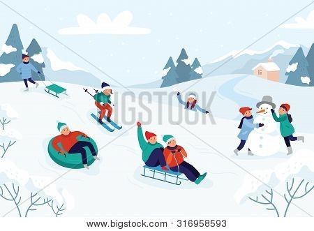 Kids Riding Sledding Slide. Snow Landscape, Winter Snowy Fun Activities. Sled Speed Riding Or Childh