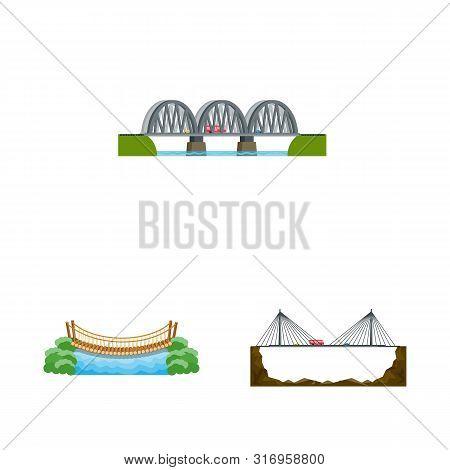 Vector Illustration Of Bridgework And Bridge Logo. Collection Of Bridgework And Landmark Stock Symbo