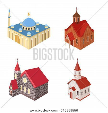 Vector Design Of Architecture And Building Icon. Collection Of Architecture And Clergy Stock Vector