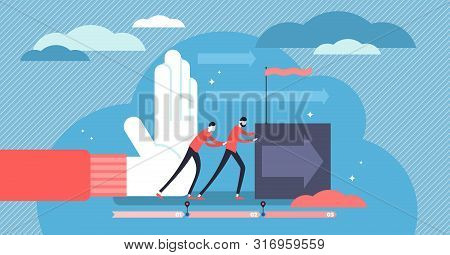 Push Vector Illustration. Flat Tiny Idea Forward Movement Person Concept. Overcoming Obstacles Proce