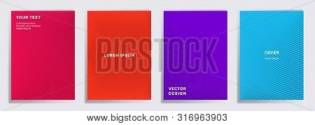 Colorful Cover Templates Set. Radial Semicircle Geometric Lines Patterns. Gradient Backgrounds For N