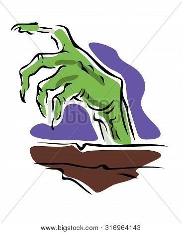 Hand Of A Ghoul Rising From A Coffin, Halloween Icon