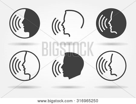 Speaking Icons. Talk Or Talking Person Sign, Man With Open Mouth, Speech Icon For Interview, Interac