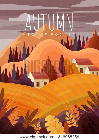 Colourful Autumn Or Fall Landscape With Mountains And Quaint Houses Nestling In Trees In A Cartoon V
