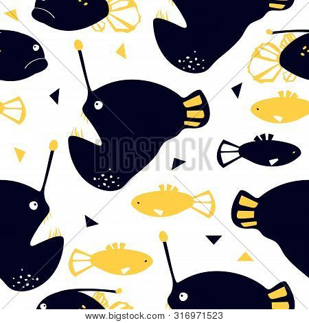 Seamless Pattern With Abyssal Sea Animal - Angler Fish. Cute Cartoon Character.