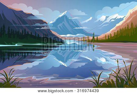 Beautiful Nature, Natural Landscape. Evening Mountain Scenery