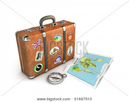 Travel Suitcase with compass and world map. Computer generated image.