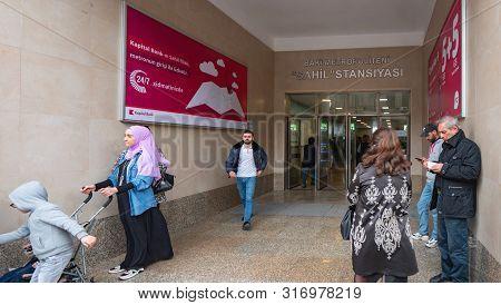 Baku, Azerbaijan - May 2, 2019: People Entering Exit The Baki Metropoliteni Sahil Stansiyasi Entranc
