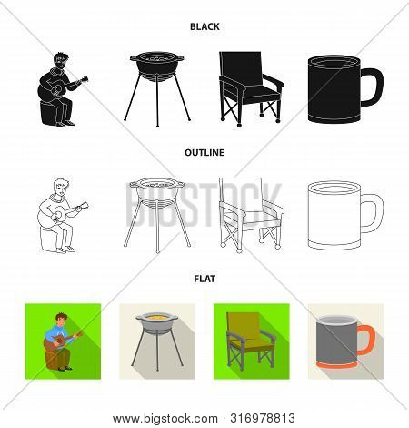 Vector Illustration Of Cookout And Wildlife Icon. Set Of Cookout And Rest Stock Vector Illustration.