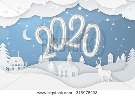 Vector Winter Night Scene With Fir Trees, Houses, Moon, Deer And Realistic 2020 Numbers Foil Balloon