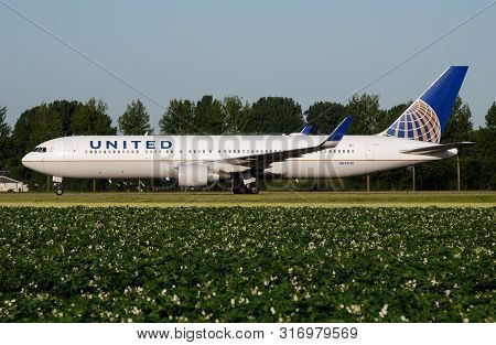 Amsterdam / Netherlands - July 3, 2017: United Airlines Boeing 767-300 N657ua Passenger Plane Taxiin