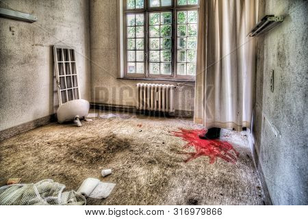 Creepy Scene In An Abandoned House: Boots With Blood Behind Curtain (hdr Version)