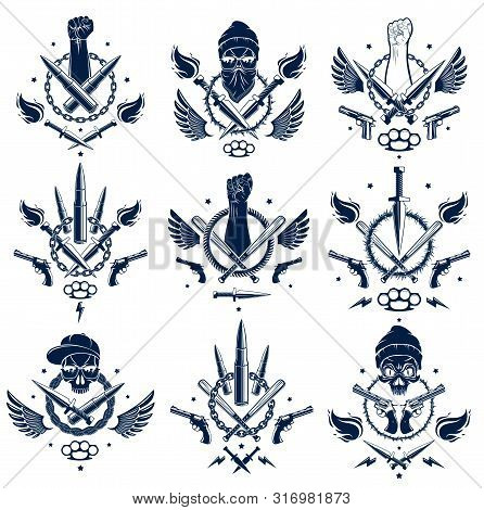 Revolution And Riot Aggressive Emblem Or Logo With Strong Clenched Fist, Aggressive Skull, Bullets A