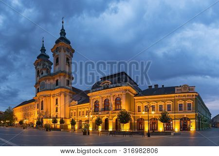 Eger, Hungary - July 7, 2018: Istvan Dobo Square In Eger, Hungary. Main Catholic Cathedral In Early