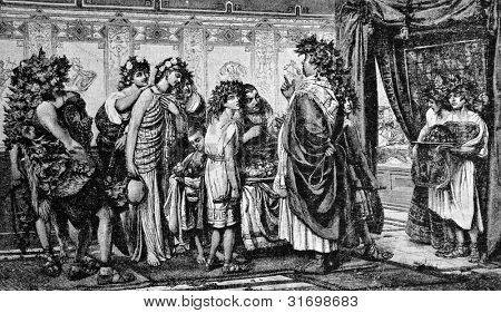 """Ancient Rome: The Senator and his slaves. Engraving by Rott from picture by Baur. Published in magazine """"Niva"""", publishing house A.F. Marx, St. Petersburg, Russia, 1888 poster"""