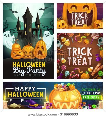 Halloween Trick Or Treat Party, Scary Pumpkin Lanterns And Horror Monster Candy Skulls And Eyes. Vec