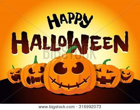 Happy Halloween Holiday Pumpkins Under Moonlight. Jack O Lantern Party On Night Blurred Background A