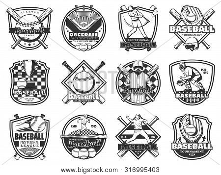Baseball Sport Championship, Softball Team Club Badge And League Tournament Game Icons. Vector Emble