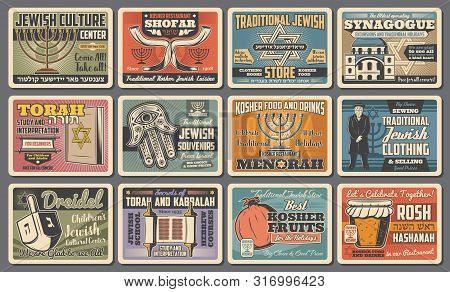 Jewish Symbols Of Judaism Religion Holidays And Israeli Culture. Vector Hanukkah Menorah, Torah And