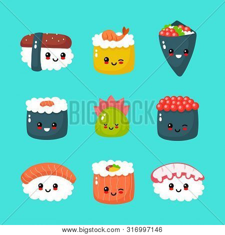 Cute Happy Funny Smiling Sushi,roll And Sashimi Collection Set. Vector Flat Cartoon Kawaii Character