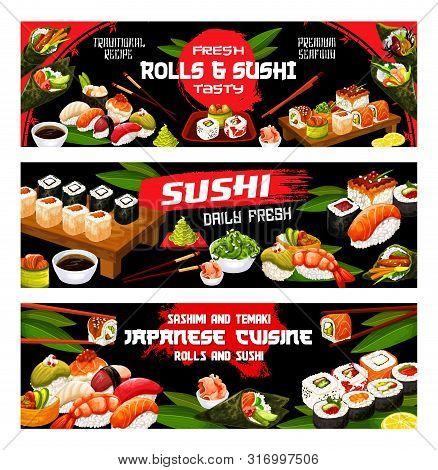 Sushi Menu, Japanese Bar And Asian Restaurant Banners. Vector Japan Food Fish Sushi And Seafood Roll