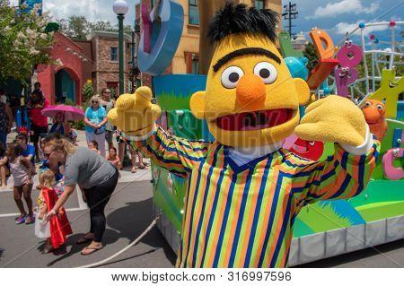 Orlando, Florida. August 07, 2019. Funny Bert In Sesame Street At Seaworld 1