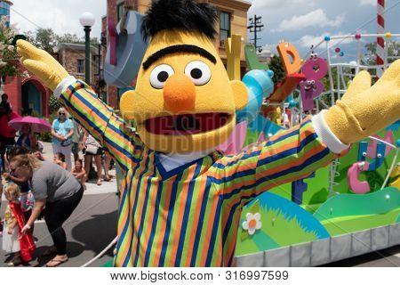 Orlando, Florida. August 07, 2019. Funny Bert In Sesame Street At Seaworld 2
