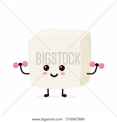 Cute Smiling Happy Strong Tofu Make Fitness Gym With Dumbbells.vector Flat Cartoon Character Illustr