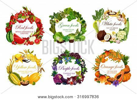Color Diet Healthy Food Nutrition Vegetables, Fruits And Berries, Organic Cereals And Nuts. Vector R