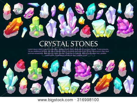 Crystal Stones And Gems, Gemstone Minerals Poster. Vector Jewelry Natural Rhinestones Quartz And Dia